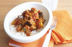 Indian eggplant and potato curry easy, with korma paste