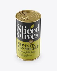Olives Tin With Metal Ring Mockup (High-Angle Shot)