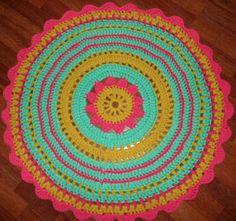 Chrocheted flower rug.