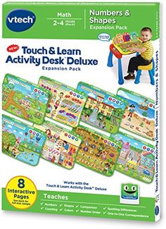 Add to the fun and learning of the Touch and Learn Activity Desk Deluxe with the cartridge and four double-sided pages included in the Numbers and Shapes Expansion Pack. Children can explore the color...