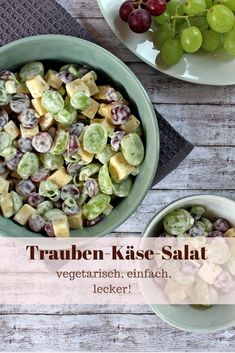 This grape and cheese salad is vegetarian, simple and delicious. Ideal for every party! This grape and cheese salad is vegetarian, simple and delicious. Ideal for every party! Best Chicken Salad Recipe, Healthy Chicken Pot Pie, Chicken Drumstick Recipes, Easy Chicken Recipes, Salad Chicken, Salad Recipes Healthy Lunch, Salad Recipes For Dinner, Easy Salads, Healthy Salad Recipes