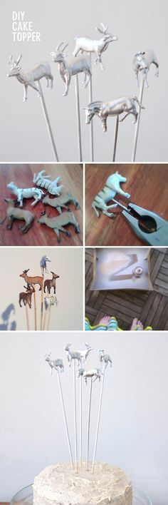 Cute DIY animal cake toppers - just don't use spray paint on the part going into the cake. Or use edible spray paint, which I believe does exist. Cute idea! :)