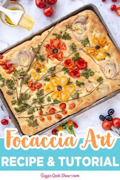 Focaccia Bread Art Recipe - - This easy focaccia recipe is the best! Just mix, rest, stretch and chill overnight to let all that amazing flavor develop. Perfect for using as a base for those beautiful focaccia bread art projects. Easy Focaccia Recipe, Baking Recipes, Healthy Recipes, Bread Recipes, Best Bread Recipe, Cooking Light Recipes, Cake Recipes, Bread Art, Pasta Salad Recipes