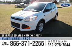 2013 Ford Escape S - Sport Utility Vehicle - I4 2.5L Engine - Tinted Windows - Seats 5 - Folding 2nd Row - AM/FM/CD - iPod/Aux/USB - Cruise Control - Remote Keyless Entry - Steel Wheels - Safety Airbags - Powered Windows/Locks/Mirrors - Digital Compass - Outside Temp Display - Bluetooth - SYNC by Microsoft and more!