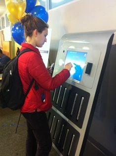Laptop Vending Machine. Patrons swipe their ID and get a laptop to do their studying!
