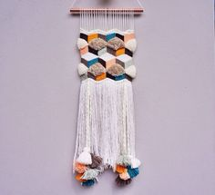 This is so similar to what I have been wanting to make in my head! ☺️ 1 medium size handmade weaving wall hanging made from high quality yarns. Dimensions are approximately wide by long Item is Weaving Textiles, Weaving Art, Loom Weaving, Tapestry Weaving, Hand Weaving, Weaving Patterns, Yarn Crafts, Diy Crafts, Arts And Crafts
