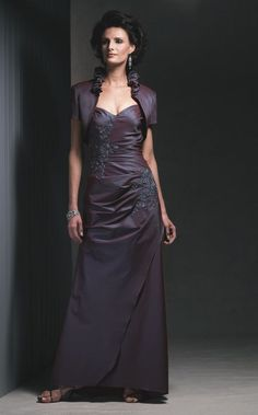 NWT Size 10 Cameron Blake 210657 iridescent taffeta long formal gown/bolero #Formalwithjacket