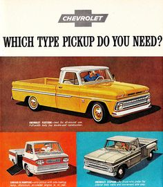 Henry exactly- 1963!    Which Do You Need? A vintage Chevrolet pickup truck advertisement from 1963....