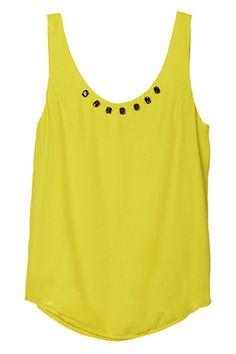 Diamante Collar Yellow Sleeveless Shirt#Romwe