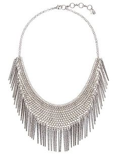 Artisan-inspired necklace featuring an eclectic design and lustrous silver-tone finish.<br/><br/>• 30 inches long (plus 2 inch extender chain) x 3 inches high