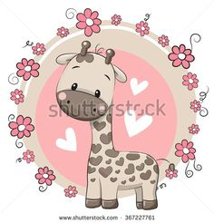 Cute Cartoon Giraffe on a pink background