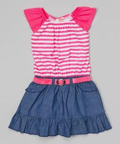 Look at this Unik Pink Stripe Chambray Belted Dress - Toddler & Girls on #zulily today!