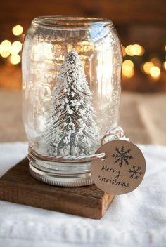 "Diy snow globe, mason jar + Christmas figurine + ""snow"" and glitter, hot glue gun"