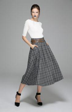 Ethnic gray skirt maxi wool skirt plaid winter skirt (1379) -minus the weird blue lipstick...