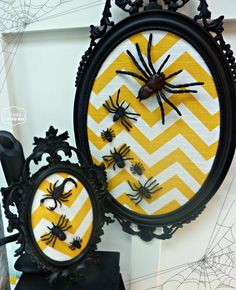DIY Halloween Chevron Spider Art -- sans spiders; mirror frame and fabric is a great idea for wall decoration.