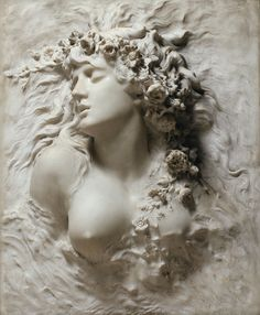 """Celebrated as one of the greatest actresses of all time, Sarah Bernhardt was also recognised for her talent in the medium of sculpture."" 【Ophelia】marble by Sarah Bernhardt (French actress, writer, painter and sculptor Art Amour, Wall Murals, Wall Art, Art Sculpture, 3d Prints, Photo Wallpaper, 3d Wallpaper, Custom Wallpaper, Krishna"