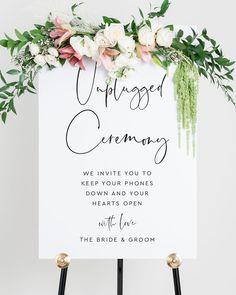 Unplugged Wedding Sign, Wedding Ceremony Signs, Wedding Signage, Wedding Reception Decorations Elegant, Elegant Wedding Invitations, Plan My Wedding, Wedding Planning, Wedding Day, Thing 1