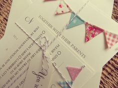 Bunting Wedding Invitation. Unique Rustic Kraft Card with Bunting. Summer Fete Country Wedding with RSVP Baby Shower