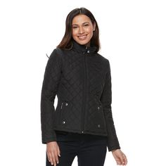 Women's Weathercast Solid Quilted Jacket, Size: Medium, Black