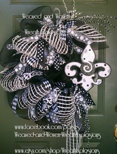 Gorgeous.....black and white Fleur de Lis wreath by weaved and woven wreath explosions.
