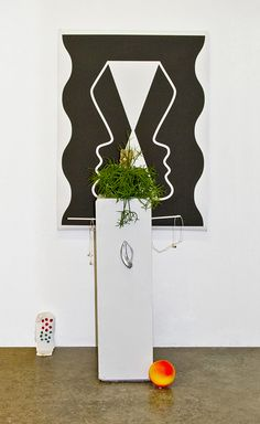 Jesse Moretti, Kiosk, 2012, ink, acrylic, cotton, wood, audio loop, headphones, digital print, styrofoam, Rhipsalis salicornioide...