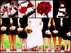 Black and Red Wedding Inspiration. Love the red shoes, and I love the red converse shoes for Waylon =)