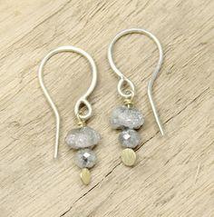 Tamara Gomez - Rough diamond and grey diamond bead drop earrings, sterling silver and 18ct yellow gold. #roughdiamonds