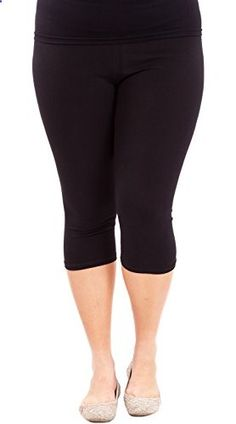 Black Woman Plus Size Elastic Waist Cotton Capri Leggings  Go to the website to read more description.