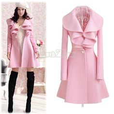 Ruffled collar coat - cute!