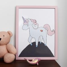 Little Unicorn. Pastel colors. Pink and gray poster for kid's room. Girl's nursery. www.Takipapier.com