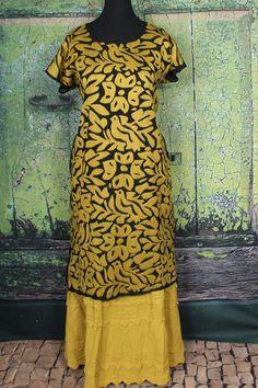 Gold & Black Hand Embroidered Huipil Dress Jalapa Oaxaca Mexico Santa Fe Style #Handmade #MexicanDress