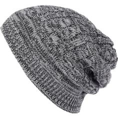 River Island Grey cable knit beanie hat ($14) ❤ liked on Polyvore featuring men's fashion, men's accessories, men's hats, hats, accessories, beanies and men