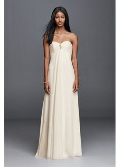 $99(sale) @ Davids Bridal - avail up to 14-  Strapless Chiffon Aline Wedding Dress with Brooch  OP1277