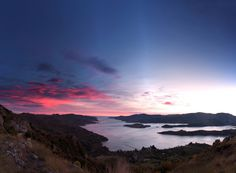 Nice big Pano for you of yesterday's sunrise over Lyttelton Harbour, Canterbury, New Zealand  - Bonus timelapse in comments