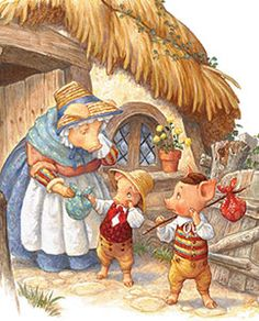 Scott+Gustafson+Art | The Three Little Pigs leaving Home detail