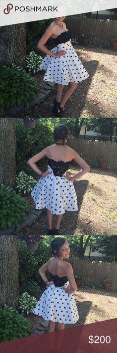 Selling this Sherri Hill Designer White & Black Polka Dot Dress on Poshmark! My username is: mybelle72. #shopmycloset #poshmark #fashion #shopping #style #forsale #Sherri Hill #Dresses & Skirts