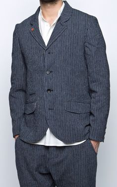 Hansen Aksel Five Button Blazer Indigo Striped