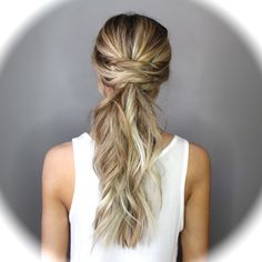 This Twisted Half Up Style is one of the easiest and most versatile hairstyles. It requires absolutely no products or styling tools. Adding a few twists to any basic hairdo automatically dresses it up Low Pony Hairstyles, 5 Minute Hairstyles, Night Hairstyles, Formal Hairstyles, Pretty Hairstyles, Wedding Hairstyles, Ponytail Updo, Twist Ponytail, Formal Ponytail
