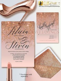 Items similar to Rose Gold Glitter Wedding Invitation & RSVP card - Glam Gold Faux Sparkle Glitter - Printable or Printed File - Style Name: ALICIA on Etsy Gold Glitter Wedding, Glitter Wedding Invitations, Gold Wedding Invitations, Rustic Invitations, Rose Gold Glitter, Wedding Cards, Rose Gold Invites, Glitter Uggs, Glitter Frame