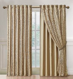 Irena Curtain Panel with Attached Backing--a nice idea for making your own. Lighter weight/sheer back panel to allow in some light and retain privacy, and a heavier front panel with thermal backing for blackout/warmth. For living room front windows? Living Room Decor Curtains, Home Curtains, Hanging Curtains, Window Curtains, Blackout Curtains, Home Living Room, Living Room Furniture, Rideaux Design, Curtain Designs