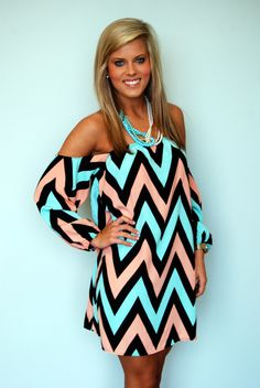 we love this chevron dress in baby blue and pink it would be a great