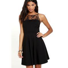 BB Dakota Milford Black Lace Skater Dress ($91) ❤ liked on Polyvore featuring dresses, black, skater skirts, little black lace dress, flared skater skirt, lace dress and cut-out dresses
