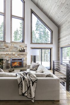 A dated A-frame cabin in Lake Tahoe is updated with a monochromatic palette. Living Room, Sofa, Coffee Tables, and Sectional In This A-Frame Cabin Makeover, Simplicity Is Key - Photo 1 of 5 - Modern Cabin Interior, Home Interior Design, Modern Cabin Decor, Rustic Modern, Modern Log Cabins, Rustic Contemporary, Interior Plants, Modern Rustic Interiors, A Frame Cabin