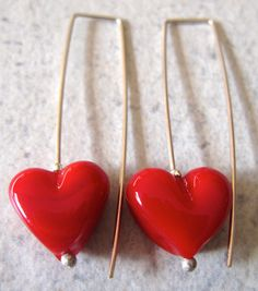 SALE  Red Heart Earrings.  Long Stylish by AussieJulesOnline, $25.00