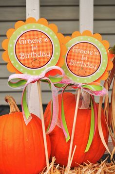 2 Pumpkin Centerpiece Sticks - Pumpkin Birthday Decorations - Pumpkin Baby Shower Decorations by sosweetpartyshop on Etsy https://www.etsy.com/listing/82364069/2-pumpkin-centerpiece-sticks-pumpkin