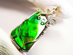 Canadian-Ammolite-Gemstone-Sterling-Silver-Wire-Wrapped-Pendant-INTENSE-Bright