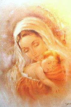✞ Blessed Mary and baby Jesus Religious Pictures, Jesus Pictures, Blessed Mother Mary, Blessed Virgin Mary, Happy Mothers, Catholic Art, Religious Art, Image Jesus, Mama Mary