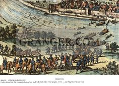 This is a Granger licensable image titled 'ATTACK ON BONN, 1587.  Martin Schenk von Nideggen (c1540-1589) and his small army of mercenaries cross the Rhine River in 1587 to capture and plunder the city of Bonn in North Rhine-Westphalia, Germany. Copper engraving, 1616.' by Granger, NYC All rights reserved. You may not copy, publish, or use this image except for sample layout ('comp') use only. You must purchase the image from Granger in order to use it for ANY other purpose.