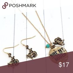 """Goldtone 'Not My First Rodeo' Necklace Set 17"""" Long Necklace with 3"""" Extension Lobster Claw Closure Worn Goldtone 1"""" Diameter Pendant with Inscribed Message Cowboy and Faux Turquoise Bead Charms 1"""" Long Fish Hook Style Earrings with 5/8"""" Drop Jewelry Necklaces"""