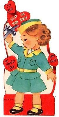 Airline stewardess - flight attendant is up in the sky / vintage valentine card